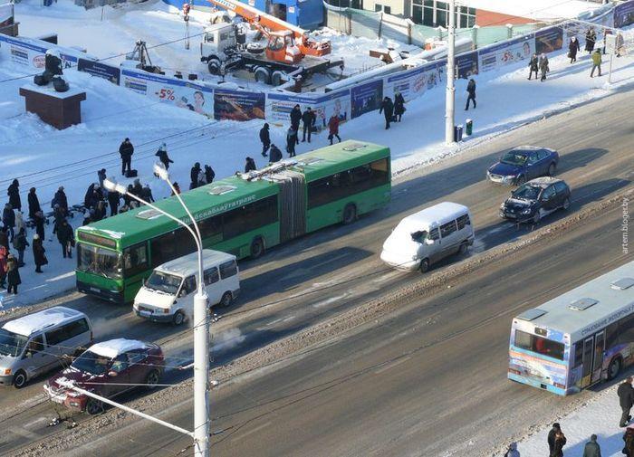 ленивый водитель, снег на машине