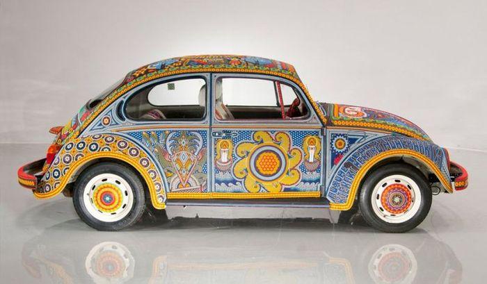 volkswagen beetle, бисер, машина из бисера