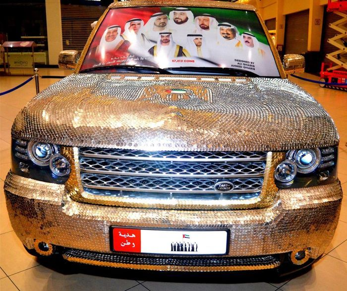 mercedes-benz g55, монетный тюнинг, тюнинг, тюнинг из монет, деньги на авто, range rover