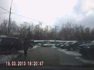 На выезде с парковки