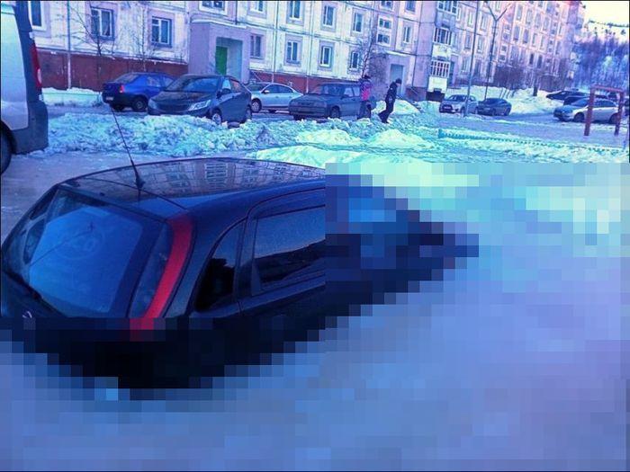 авто, opel corsa, парковка, машина во льду,