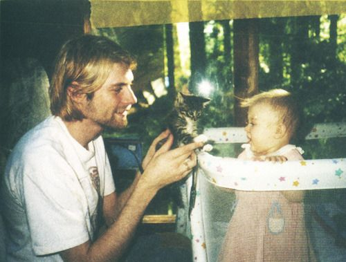 Kurt Cobain and his daughter