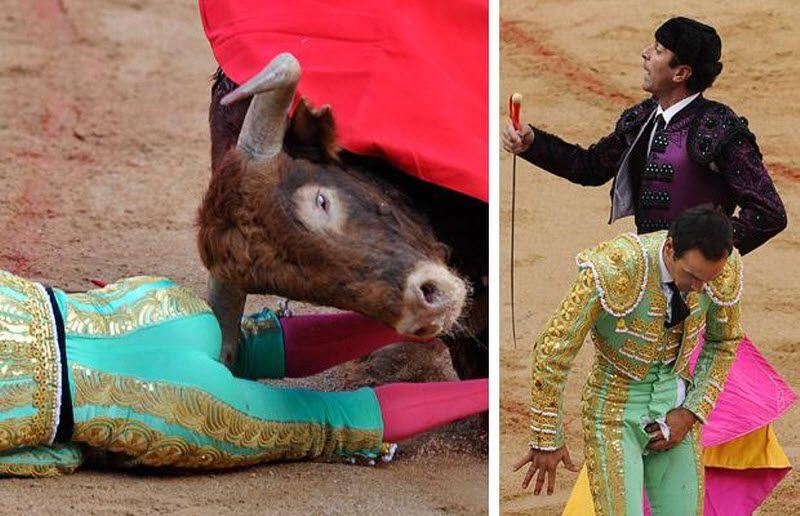 Матадорам «проколы» в одежде известны не понаслышке. На фестивале в Памплоне испанский матадор «Эль Сид» получил удар в… ну вы поняли…