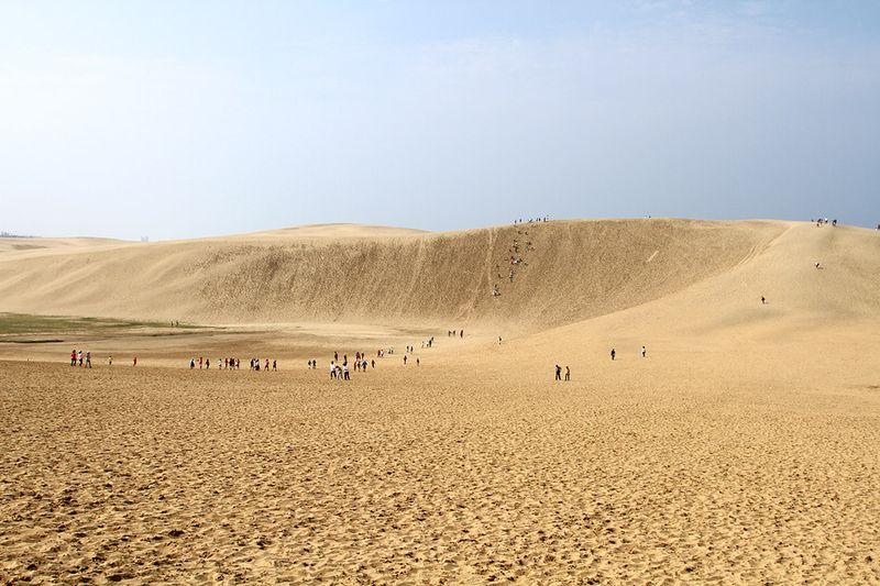 Песчаная дюна Тоттори раскинулась на 16 км вдоль побережья Японского моря (ширина 2 км.)... и если бы не высоченные барханы и возвышенности, можно было бы предположить, что это просто огромный пляж...