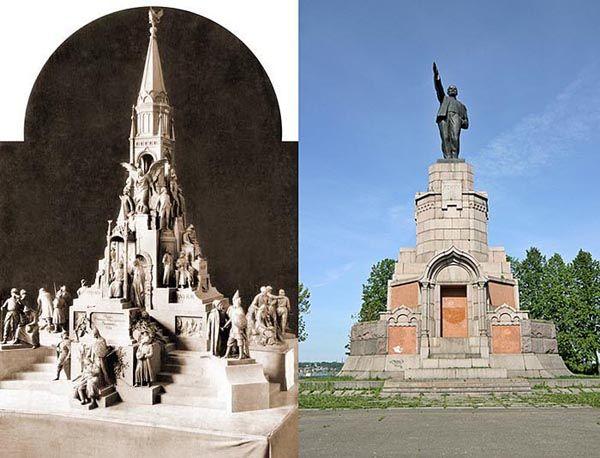 Кострома. Постамент памятника был сооружен в 1913 году и предназначен для монумента, посвященного 300-летнего юбилея Дома Романовых. В полном виде памятник построить не успели.