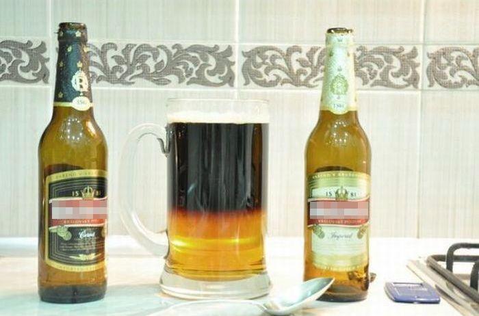 Резаное пиво в одном бокале (8 фото + 1 видео)