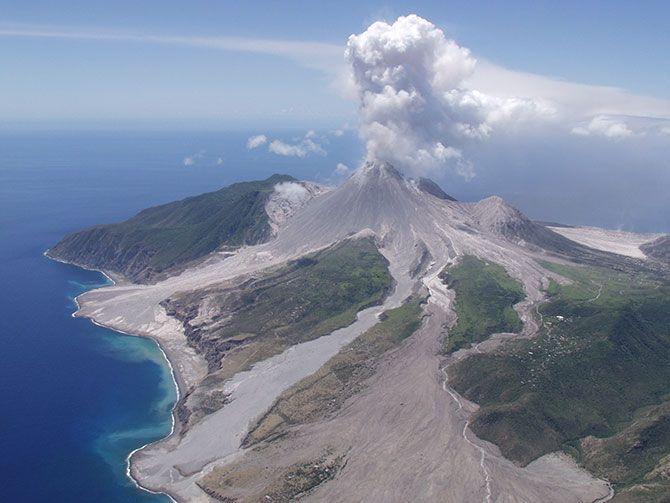 остров монтсеррат, вулкан, извержение,