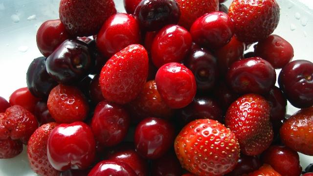 матрица, автомобиль, ягоды, клубника, вишня, цветок