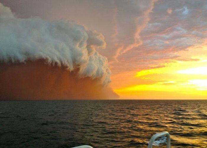 цунами, волна, пыль, ураган