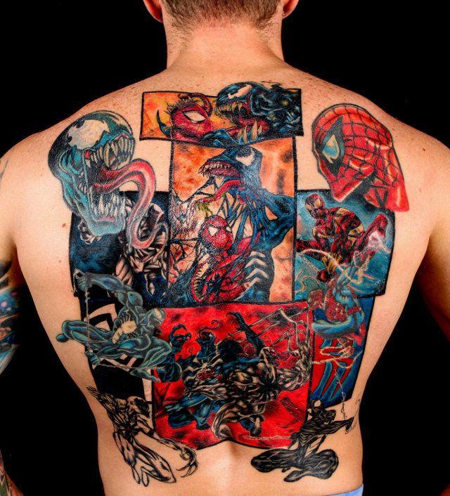 Фанни фото на спине, накачанная, супергерои, татуировка