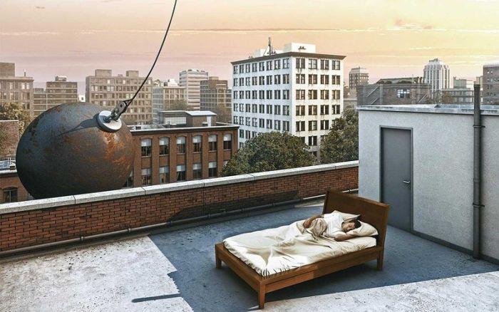 Фотоприкол в кровати, красивая картинка, крыша, снос дома, спит