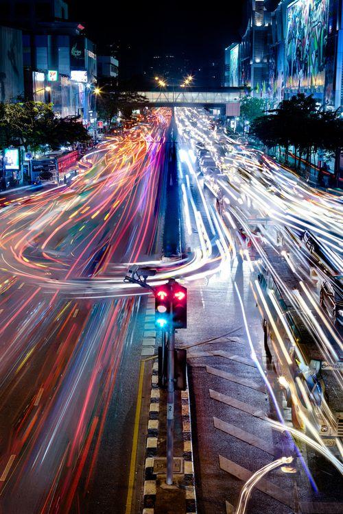 Прикол картинка большой город, выдержка, дорога, красивая фотография, мегаполис, ночью