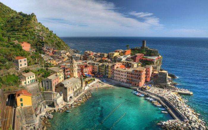италия, море, город, прилив