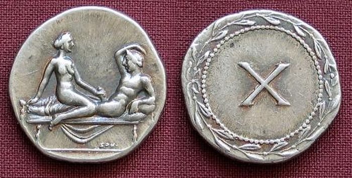 Римские монеты с изображением сексуальных сцен