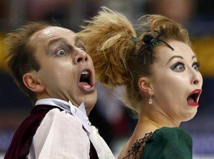 Улетное фото выражение лица, пара, прикол, страх, танцы, ужас, фигурное катание