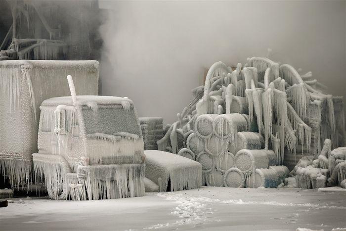 чикаго, пожар, ледяные скульптуры,