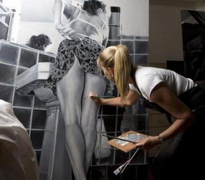 Фанни фото ванная комната, красивый рисунок, плитка, рисунок на стене, своими руками. худож