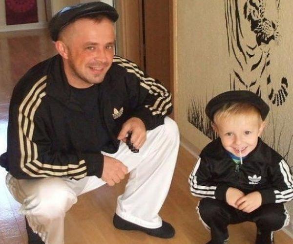 Шикарное фото гопники, кепка, отец и сын, прикол, спортивный костюм, чоткий