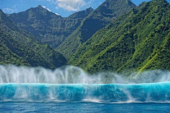 Смешные картинки водопад, горы, джунгли, океан, остров, тропики, тропический лес