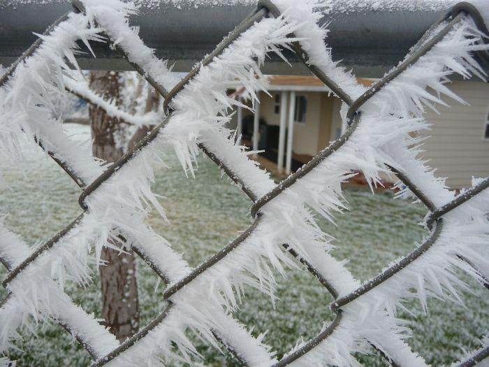 Отпадные фотки забор, кристаллы, обледенела, промерзла, сетка, сосульки