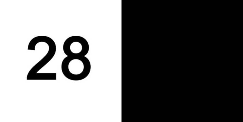 Число 28, написанное черным цветом на черном фоне, выглядит как число 42.