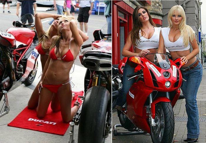 Красотки и байки фирмы Ducati (59 фото)