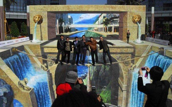В Китае нарисовали самую большую 3D картину в мире (4 фото)