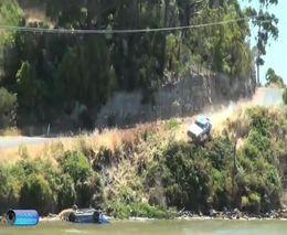 Падение в реку во время ралли