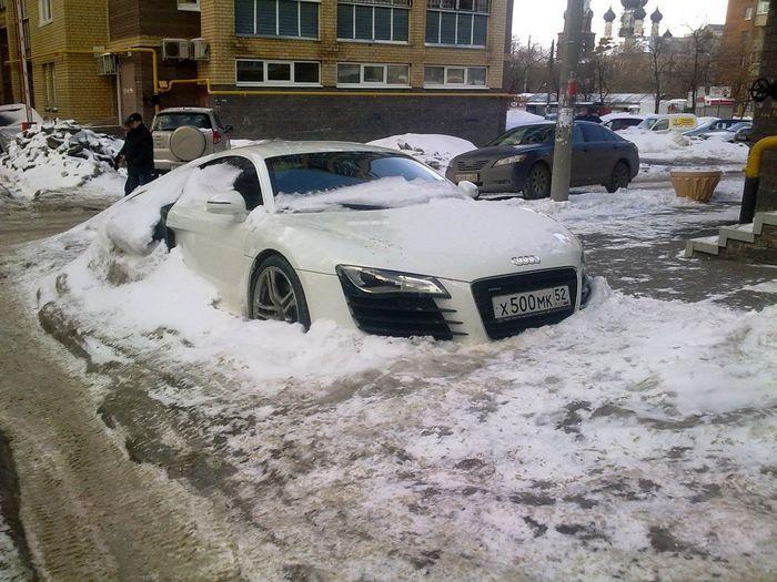 Белый подснежник из Audi R8 (9 фото)
