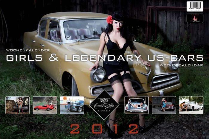 Эротичный календарь Girls&legendary us-cars 2012 (31 фото)