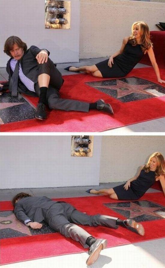 Юмор аллея славы, голливуд, девушка, знаменитости, притворился мертвым, смешная фотография