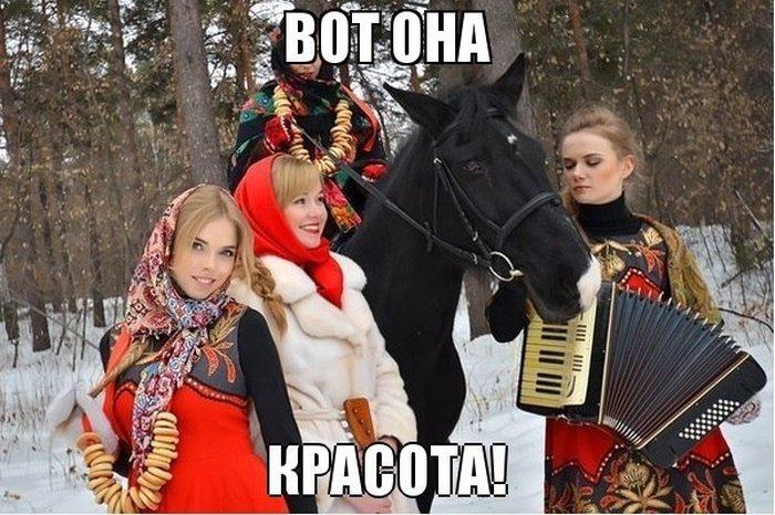 Фото аккордеон, красивые девушки, красотки, лошадка, лошадь, русская красавица
