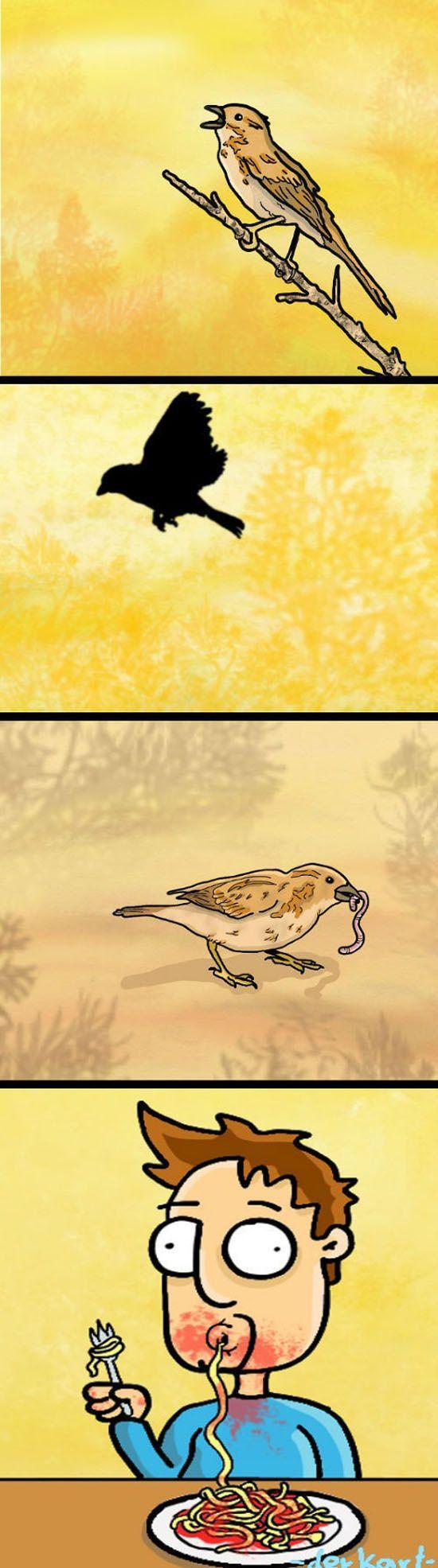 Юмор выражение лица, комикс, макароны, прикольная картинка, птичка, червяк