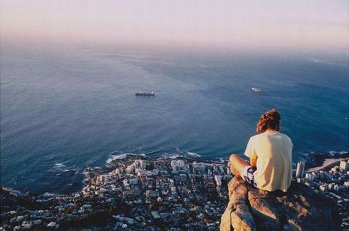 Фотоприкол онлайн бесплатно вершина горы, вид сверху, красивая фотография, море