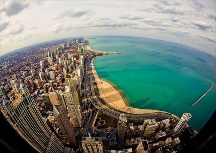 Фотоприкол дня вид сверху, красота, небоскреб, океан, пляж
