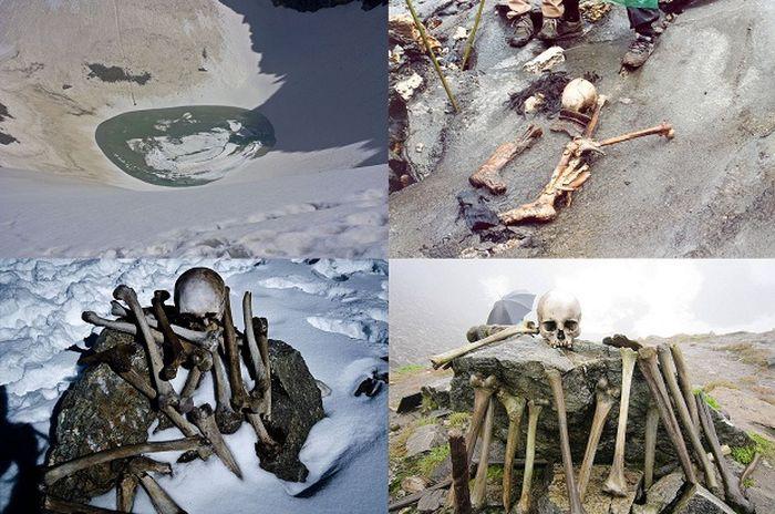 озеро, скелет, останки, индия