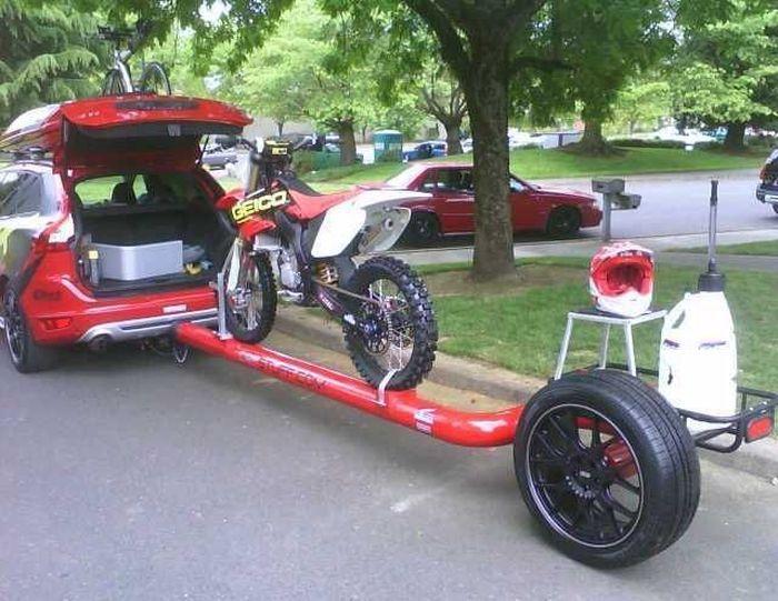 Фото мотокросс, мотоцикл, прицеп, шлем