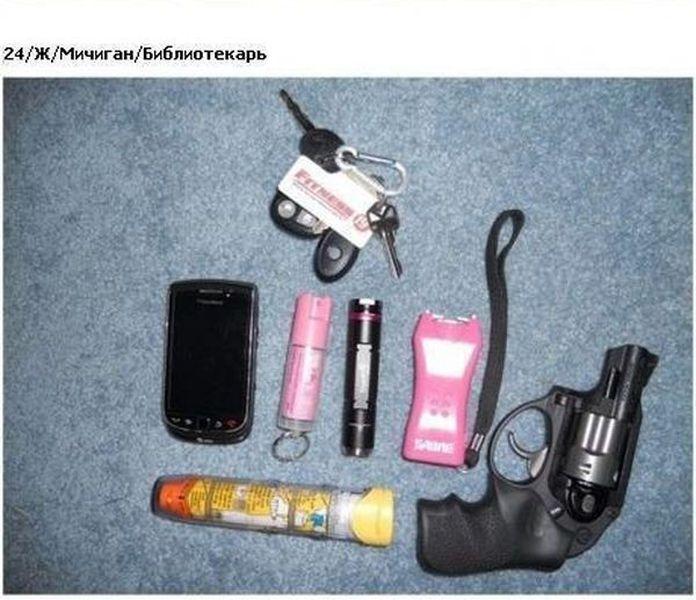 вещи., сумка, пистолет, ключи, нож, сигареты, зажигалка, очки, паспорт, телефон