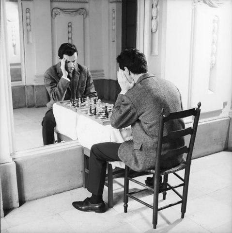 Юмор зеркало, прикол, сам с собой, шахматы
