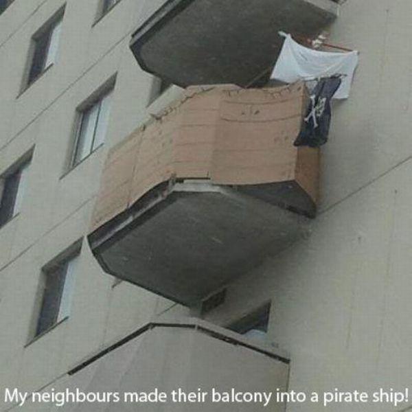 Смешной фотоприкол балкон, корабль, пиратский, прикол