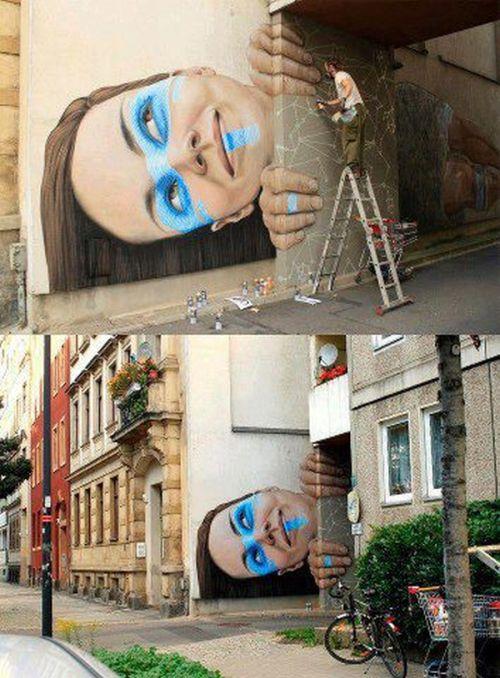 Новый фотоприкол граффити, лицо, портрет, стрит-арт