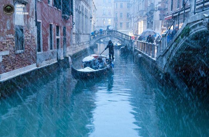 венеция, наводнение, снегопад