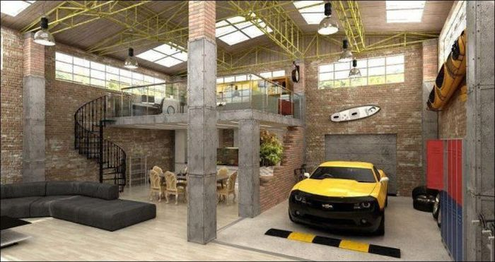 Прикол картинка гараж, интерьер, круто, уютно, шевроле