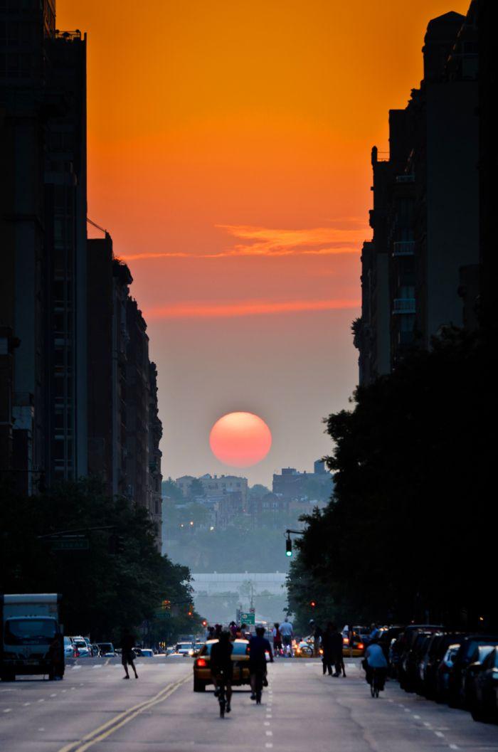 Смешная фотогалерея город, дорога, закат, панорама, садится, солнце, улица