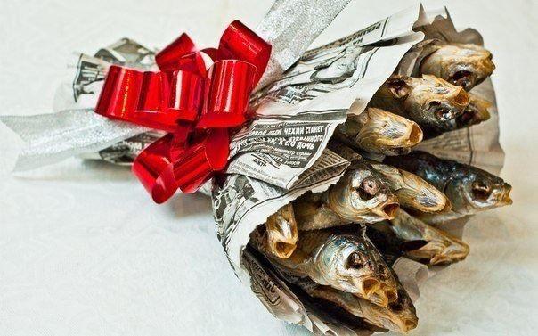 Смешные картинки букет, вобла, подарок, рыба