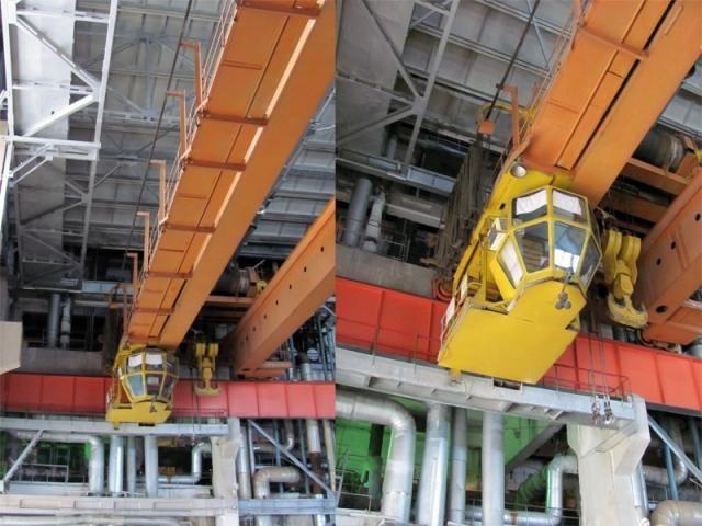 По залу на рельсах, закрепленных на крыше,перемешается кран,который может переместить за раз до 20 тонн веса. (фото 18)