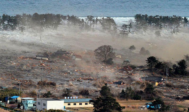 Обрушившееся на жилой район Натори цунами в префектуре Мияги. (Reuters)