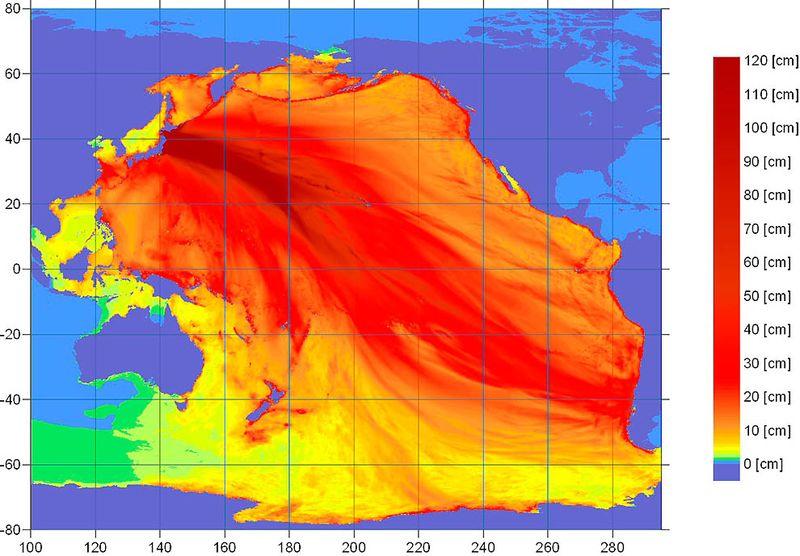 На карте Национального управления океанических и атмосферных исследований видна вся сила вызванного землетрясением цунами. Предупреждение о чрезвычайном положении распространилось на все страны Тихоокеанского бассейна, кроме центральной части США и Канады. Под это положение попали Гавайи и Мексика. (NOAA/Tsunami Warning Center/)