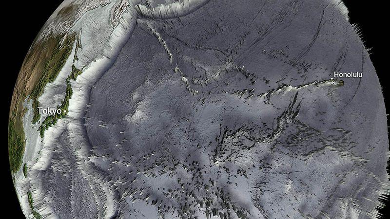 На этой карте батиметрических данных виден рельеф дна океана. На снимке присутствует весь бассейн западной части Тихого океана. Обратите внимание на то, как резко поднимаются из океана японские острова. Другие прибрежные азиатские территории имеют куда более плавные подъемы. Острова и горные цепи в океане также повлияли на характер и скорость движения цунами. В открытом океане цунами движутся со скоростью до 800 км/час. Именно этот импульс создает столь разрушительную силу, когда волны набегают на сушу. Волны цунами преодолели тысячи километров после землетрясения и вышли на берегах Японии и на Гавайях, однако последним удалось избежать повреждений. Пока ревели сирены, а власти в спешном порядке эвакуировали население в низменных частях острова, волны изменили свое направление у гавани Уайанаэ около 3:24. (NOAA/handout)