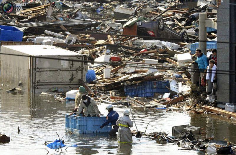 пасатели в плавучем контейнере проводят спасательные работы, префектура Мияги, 12 марта 2011 года.